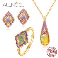 кольцо из драгоценных камней 925 оптовых-ALLNOEL Real Opal Enamel Jewelry Set Natural Gemstone  Pendants Necklace Stud Earrings Rings 925 Sterling Silver Jewellry