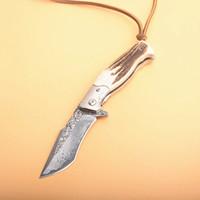 facas de damasco de qualidade superior venda por atacado-Top Quality Damasco Flipper Faca Dobrável VG10 Damasco Aço Lâmina de Aço Damasco + Chifres Lidar Com Facas Colecionáveis