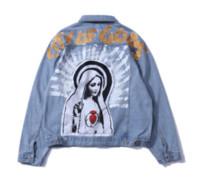 мытье джинсовой куртки женщин оптовых- Vintage Virgin Mary Painting Print Jeans Jackets Hip Hop Streetwear Loose Washed Denim Jacket Coat Men Women Dropshipping