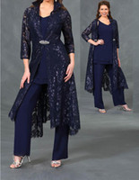 Wholesale plus size mother bride gowns jackets resale online - newest piece mother of the bride pant suits with lace sleeves jacket ankle length formal evening gowns plus size wedding guest dresses