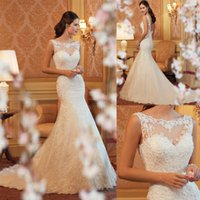 Wholesale fishtail wedding dress sheer lace resale online - White Lace Mermaid Wedding Dresses Long Backless Fishtail Bridesmaid Dress Long Sleeveless Court Train Wed Dresses