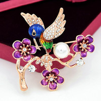 Wholesale rhinestone hummingbird brooch for sale - Group buy Hummingbird Brooch Pin Drip Painting Crystal Rhinestone Animal Bird Flower Women Garment Scarf Accessory Vintage Jewelry