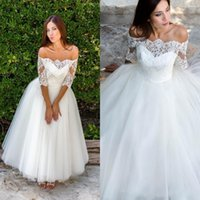 Wholesale half length dresses resale online - Wedding Dresses Sexy Bateau Country Half Sleeves Appliques Illusion Ankle Length Bridal Gowns Vestidos De Noiva