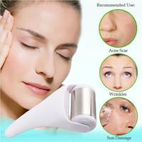 massager de aço inoxidável venda por atacado-Fast Ship rolo Ice Rejuvenescimento Facial Massager aço inoxidável Fria Beauty Slim fina Rugas Acne Scar Sun Remover danos