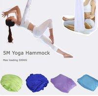 yoga swing toptan satış-Elastik 5 Metre Yoga Hamak Anti-yerçekimi Çok Fonksiyonlu Yoga Kemerleri Yoga Için Anten Salıncak Kemer Inversiyon Trapez 500 kg