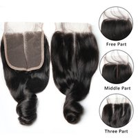 Wholesale bleached way part human hair for sale - Group buy Hot selling Loose Wave Lace Closure Bleached Knots Brazilian Loose Wave Human Hair Closure Free Middle way Human Hair