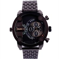 ingrosso inossidabile-Oulm Large Quadrante doppio movimento in acciaio inossidabile Band Army Design Sport Watch