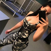 schweiß overalls groihandel-2019Sexy Camouflage Hose mit Hosenträgern Damenmode Bodys Split Joint Springy Jumpsuits Tide Sweat-Absorption Breathable Kleidung