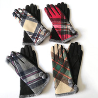 Wholesale women driving gloves for sale - Group buy Women Touch Screen gloves plaid Riding Glove Warm Ladies Gloves Plaid Riding Outdoor Driving Touch Screen Gloves LJJK1841