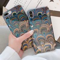 tavuskuşu davaları toptan satış-Peacock Feather Telefon Kılıfları iPhone Için XS Max XR XS 6 6 S 7 8 Artı X Vintage Parlak Yumuşak IMD Telefon Arka Kapak