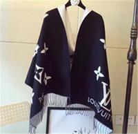 ingrosso scialle di cotone bianco nero-Designer Inverno Sciarpa di cachemire Pashmina per donna e uomo Moda Doppia usura Calda coperta Sciarpe Sciarpe Sciarpa di cachemire di cotone