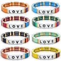 Wholesale painting enamel resale online - Factory Outlet Letter LOVE Bohemia Style Handmade Enamel Rainbow Tile Bracelet Colorful Painted Metal Cuff Bracelet
