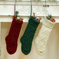 hochwertige wollsocken großhandel-46 cm Wolle Stricken Geschenk Tasche Für Weihnachten Socken Süßigkeiten Aufbewahrungsbeutel Weihnachten Hängen Baum Ornament Hohe Qualität 12 5 mt x BB