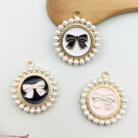 Wholesale keys jewelry resale online - Korean Small Round Pearl Bow Pendant Charms Hair Accessories Jewelry Accessories Key Chain Pendant DIY Alloy Accessories