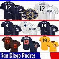 beyzbol formaları toptan satış-50th Yama San Diego 13 Manny Machado Pedresci Jersey 4 Wil Meyers 19 Tony Gwynn Serin Baz Örgü Beyzbol Formalar Boyutu M-XXXl