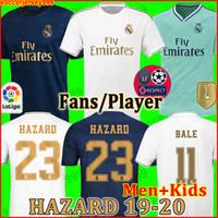26 kits achat en gros de-FANS PLAYER VERSION Maillots de football du Real Madrid soccer jerseys 19 20 HAZARD JOVIC MILITAO 2019 2020 maillot de foot kits pour enfants enfant de la troisième distance