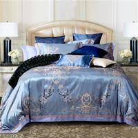 Wholesale black silk king comforter online - Luxury jacquard cotton silk BEDDING bedding set duvet cover SET bed sheet comforter set quilt cover
