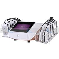 14 pad diodo laser lipo máquinas al por mayor-Lipolaser portátil Lipo láser Lipolisis que adelgaza la máquina Diodo LLLT 650nm 14 Sistema de almohadillas Salón o Uso en el hogar Pérdida de peso Equipos de belleza