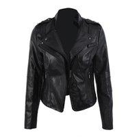 koreanische mädchen schlank großhandel-Frauen Leder Kurze Jacke Schlank Klassische Schwarze Jacken Vintage Mode Hip Hop Coole Jacke Für Damen Mädchen Weibliche Koreanische Lässig