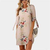 ingrosso vestito floreale stampato un pezzo-Vestiti sexy delle donne Summer Fifth Sleeve Floral Printed Dress O-Collo Pizzo Chiffon Dress Lady One Piece Abbigliamento femminile