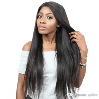 Wholesale peruvian yaki wig for sale - Group buy Yaki Straight Lace Front Wigs Free Part Pre Plucked Transparent HD Remy Brazilian Light Yaki Straight Full Lace Frontal Wig Bleached Knots