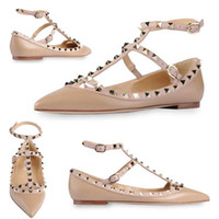 Wholesale brown dress shoes for sale - Group buy Hot Sale Designer Brand Classic Pointed Toe Women s Shoes Ankle Straps Dress Shoes Leather Rivets Sandals Women Studded Strappy Size