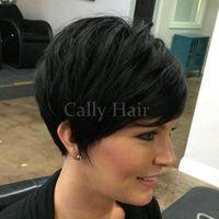 kısa insan saçı örgüleri toptan satış-Birmanya Saç Brezilyalı Dantel Ön Peruk Virgin İnsan Saç Siyah Kadınlar için Dantel Peruk Yok Dantel Peruk Kısa Saç örgüleri