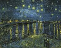 yıldızlı gece tuvali toptan satış-Vincent Van Gogh STARRY GECE RHONE ÜZERINDE Ev Wall Art Handpainted HD Baskı Yağlıboya Tuval Duvar Sanatı Tuval Resimleri 190828