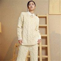 pulls tricotés à la main achat en gros de-nouvelle arrivée 100% fait main pure laine tricoté femmes streetwear Oneck solide H-pull droit pull oneover taille