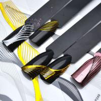 nagelkunst aufkleber streifen großhandel-Gold Metall Wave Strip Nail Sticker schwarz Multi-Size-Linien Transfer Aufkleber Maniküre 3D Nail Art Dekorationen ZJT3001