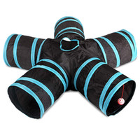 brinquedo de coelho azul venda por atacado-Túnel do gato, 5-Way Dobrável Pet Toy Tunnel - Coelho, Gato e Dog Game Pipe - Preto azul