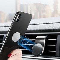 Wholesale car shape mobile phone holder online – Universal Magnetic Air Vent Phone Holder L Shape Car Mobile Stand Mount with Strong Magnets