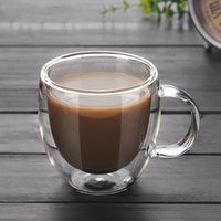 çift katmanlı cam kupa toptan satış-Çift Duvar Cam Kahve Çay Bardağı Yeni Isıya dayanıklı Çift Katmanlı Cam Kolu Kahve Fincanı