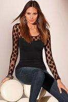 lange polka dot bluse großhandel-Neue Mode Damen Damen Langarm Tupfen Mesh Shirt Sommer Beiläufige Dünne Bluse Tops Mode Frauen Kleidung