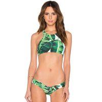 neue heiße frauen bikini großhandel-Neue Ankunft Heiße Frauen Foreset Blätter Druck Tank Gepolsterte Bikini Set Sexy Badeanzug Damen Strand Badeanzug bademode