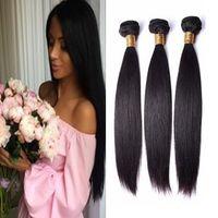 bakire hint saçları toptan satış-8A Düz Brezilyalı İnsan Saç Uzantıları 3 Paketler Malezya Perulu Hint Düz Bakire Saç Atkı Örgüleri