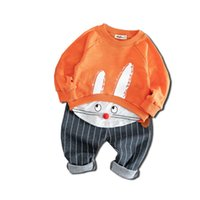 ingrosso fumetto del punto del bambino-2019 Spring Boy Girl Set di abbigliamento sportivo Pullover Set Kid 2pcs Cartoon Leisure Suit Toddler Rabbit Stitching Baby Outfit vestiti