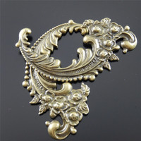 Wholesale antique bronze findings resale online - Antique Bronze Zinc Alloy Lovely Flower Swirl Charms Necklace Pendants fashion jewelry finding x40 mm