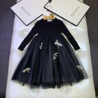 Wholesale multi layer dresses resale online - Girls dress kids designer clothing autumn fashion sweet style new mesh stitching dresses multi layer soft yarn hook flower pattern dress