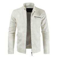 mangas de couro blusa venda por atacado-dos homens PU Leather Jacket Inverno Casual Sólidos Zipper Cor Long Sleeve Slim Fit Jacket Fique Brasão Collar Tops Blusas dos homens