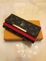 foto billetera al por mayor-De alta calidad de embrague de la manera carpeta del cuero genuino de polvo Bolsa 60015 60017 gratuito de envío de venta entero Real bolsas Imágenes