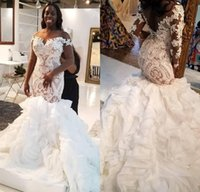 Wholesale tiered organza lace wedding gown for sale - Group buy Illusion Long Sleeve African Mermaid Wedding Dresses Plus Size Lace Ruffles Tiered Cathedral Train Trumpet Bride Wedding Gown