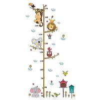 karikatür yüksekliği ölçme toptan satış-Sevimli Karikatür Hayvanlar Desen Yüksekliği Ölçmek Duvar Sticker Çıkartması Çocuk Favori Yapışkan Vinil Yatak Odası Dekor Su Geçirmez Mildewproof
