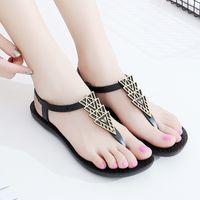 ingrosso sandali in cotone marrone-Sandali donna comodi sandali piatti in PVC scarpe da donna estate appartamenti sandali con cinturini a tacco marroni neri donna 2019