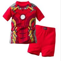 Wholesale drop ship baby clothing for sale - Group buy Drop Shipping Children Summer Cotton Short Sleeve Red Shorts Suit Pajamas Baby Girl Boys Sleepwear Kids clothes set