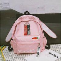 mochila de oso rosa al por mayor-Kawaii Clothing Harajuku Japanese Bag Mochila Orejas Pink Rabbit Bunny Bear Cat