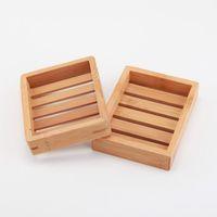 100pcs arrival Portable Soap Dishes Creative simple bamboo manual drain soap box Bathroom bathroom Japanese style LX1195