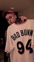 beyzbol formaları toptan satış-Erkek Maimi Bad Bunny Beyzbol Forması Porto Riko Ile Bayrak Beyaz Tam Dikişli Gömlek Boyutu S-4XL