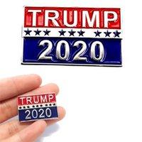 düğme rozeti pimleri toptan satış-2020 Donald Trump Broş Metal Düğme Rozeti Bez Pimleri Birleşik Devletleri Başkanı Kampanyası Kadın Erkek Takı