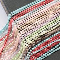pedrería blanca taza al por mayor-Las nuevas llegadas ABS perla SS6 cadena 2mm 10yards base de la taza de plata colorido de perlas de la cadena de coser prendas de vestir y accesorios de bricolaje de belleza